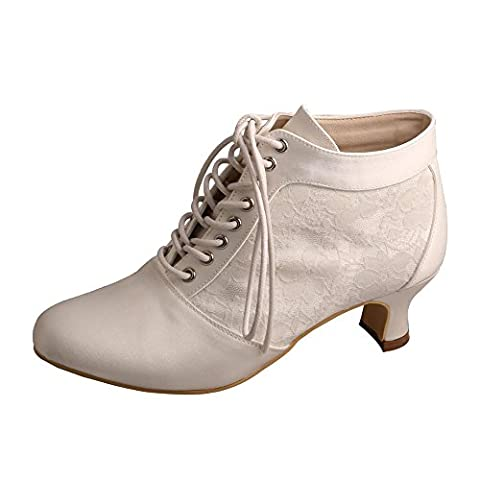 Wedopus MW188 Women's Almond Toe Lace-Up Boots Short Heel Lace