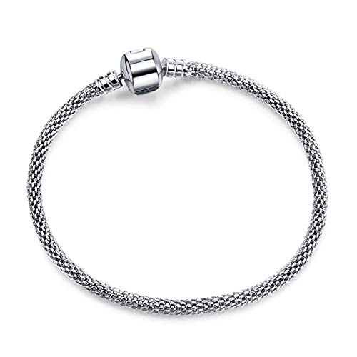 Armband Armreif,Schmuck Geschenk, Dropshipping 3Mm 17-21Cm Vintage Silver Plated Snake Chain DIY Charm Bracelet Brand Bracelets Women Jewelry Snake Chain 18cm
