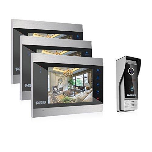 TMEZON 7-Zoll-Farb-LCD-Touch-Taste Video Türsprechanlage Türklingel Gegensprechanlage Kit 3-Monitor 1-Kamera Nachtsicht, Unterstützung Aufnahme / Schnappschuss (Video-kamera-unterstützung)