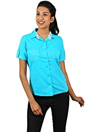 Old Khaki Solid Cotton Casual Partywear Shirt Women's Girls Shirt with Swaroski Stones on The Double Pockets in Sky Blue Color with Contrast & Free Shipping