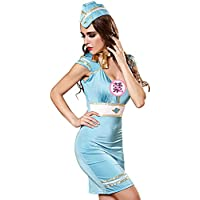 DavDoy Role playing uniform service airline stewardess sailor suit bag hip Jumpsuit skirt suit sexy lingerie,L,Picture color