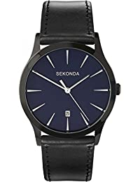 Sekonda Men's Quartz Watch with Analogue Display and Black PU Strap
