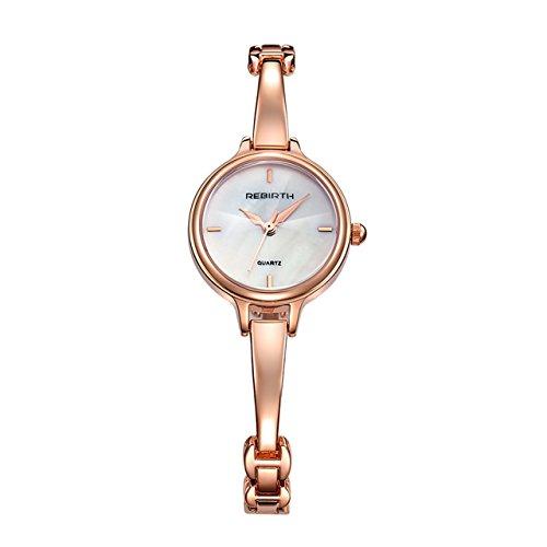 JSDDE Uhren,Elegante Damen Armbanduhr Chic Manschette Damenuhr Rosegold Spangenuhr Armspange Armkette Uhr Analog Quarzuhr,weiß