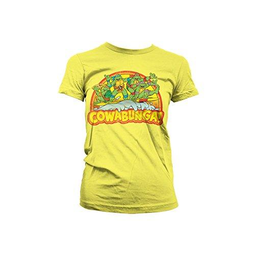 Offiziell Lizenzprodukt TMNT - Cowabunga Damen T-Shirt (Gelb), XX-Large