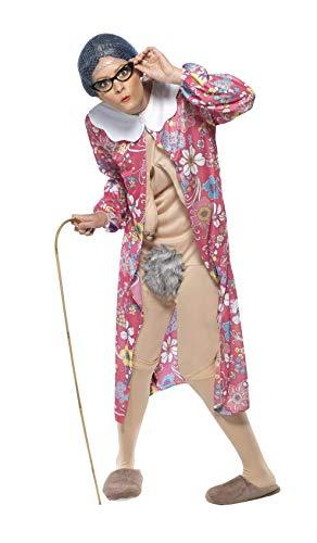 Schwerkraft Oma Kostüm mit Morgenmantel und Bodysuit, Medium (Oma Nachthemd Kostüm)