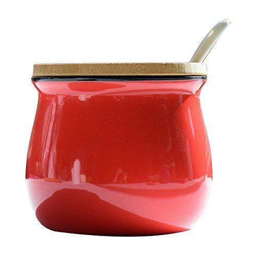 Simplicity Pure Color Zucker Schüssel-Set mit Deckel Holz Löffel groß Salz Pfeffer Vorratsdose Topf Container Würze Topf Box Speisewürze gewürzregalen Halter, rot (Schüssel Salz Mit Deckel)