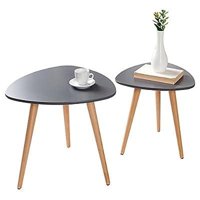 2er Set Beistelltische SCANDINAVIA MEISTERSTÜCK Retro Design graphit Buche Holztische Satztische Tischset