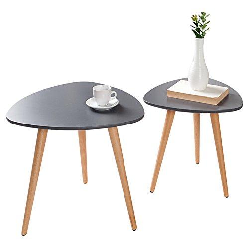 Invicta Interior 2er Set Beistelltische Scandinavia MEISTERSTÜCK Retro Design Graphit Buche Holztische Satztische Tischset