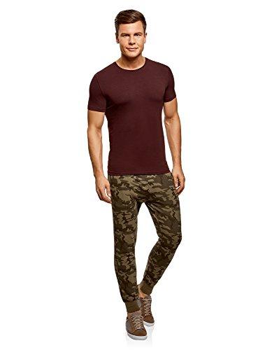 oodji Ultra Herren Tagless T-Shirt Basic Aus Baumwolle Rot (4900N)