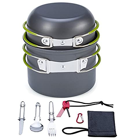 Camping Cookware,Portable Camping Cooking Set Backpacking Gear, Hiking Outdoors, Picnic Backpacker Cooking Equipment t,Compact, Lightweight, Durable Pot Pan (Green with 9 PCS set)