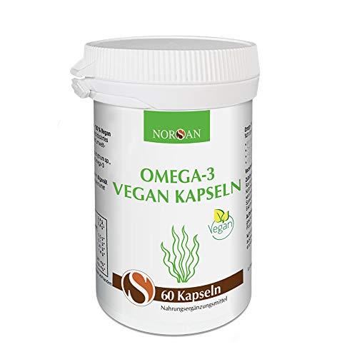 Omega-3 Vegan Kapseln I NORSAN I 60 Kapseln mit veganem Algenöl I 1.400 mg Omega-3 pro Tagesdosis I umweltschonend hergestellt