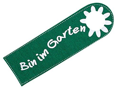 Türanhänger aus Filz - Bin im Garten - Türschild Anhänger für die Türklinke von Alsino