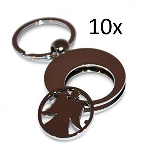 10er SET - Engel als Schlüssel Anhänger Schlüsselanhängel Einkaufwagenchip Schutzengel - Schlüßelanhänger Glücksbringer - Metall Silber (10 Stück)