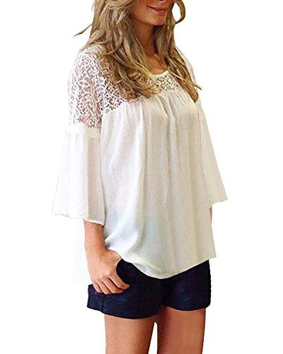 StyleDome Damen Lace Chiffon Crochet Splice 3/4 Ärmel Lose Tops Weiß