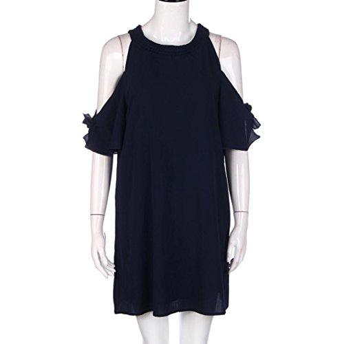 Rcool Frauen-Frühlings-Herbst-lose Chiffon- Kleid-Art Sundress-Kleidungs-hohles Kleid Blau