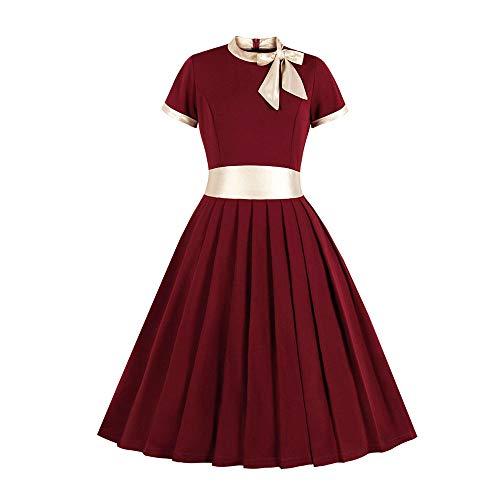 Beonzale Damen Mode Plus Size 1950Er Vintage Retro Cocktailkleid Bogen Stehkragen Patchwork Party Kleid Schwingen Petticoat Faltenrock