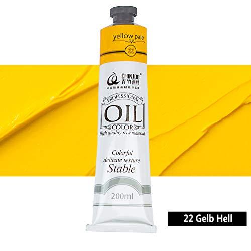 Ölfarbe in 18 Tönen je 200ml Feine Farben für Malen (22 Gelb Hell)