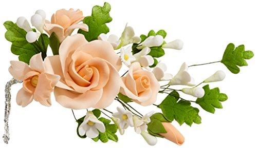 Cake Company Zuckerblumenboquet Rose 1 Stück apricot 1er Pack (1 x 74 g) (Essbare Kuchen-blätter)
