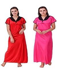 Diljeet® Women Girls Beautiful Satin Red Nighty Rani(Pink) Nighty Night  Dress Combo Black Lace (Free Size Large Extra Large… 390368d3f