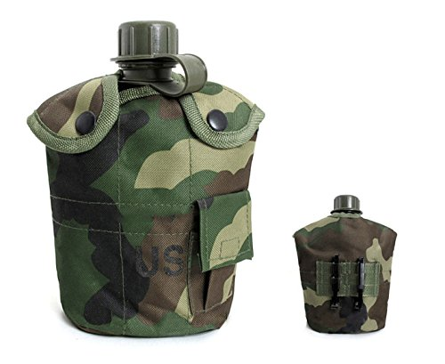 1L Army Military Water Bottle Portable Practical Tools for Outdoor Sport Hunting Hiking Camping Travel Water Kettle Thermal Insulation Aluminum Canteen Cup with Nylon Canteen Cover (Jungle Camouflage)