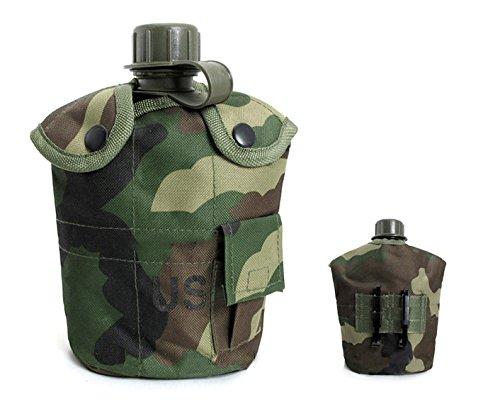 0.5 Unze Pumpe (1L-Army Military Wasser Flasche Tragbar Praktische Werkzeug für Outdoor Sport Jagd Wandern Camping Reise Wasser Wasserkocher Wärmedämmung Aluminium Kantine Cup mit Nylon Kantine Cover, Dschungel-Camouflage)