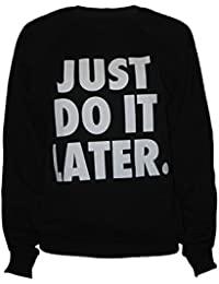 Fast Fashion - Crop Top Manches Longues Just Do It Later Print Fleece Hoodie - Femmes