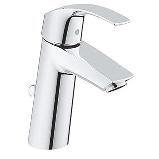 GROHE Eurosmart basin tap, single-lever mixer, bathroom, pop-up waste, medium high spout, water-saving technology, chrome, 23322001
