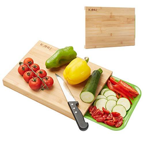 KAHU Premium Organic Bambus Schneidebrett mit Auffangschale - ideales Maß 33x25cm - antibakteriell - hart und widerstandsfähiges Küchenbrett - hitzebeständig und rutschfest - langlebig (Wurst-board Und Käse)