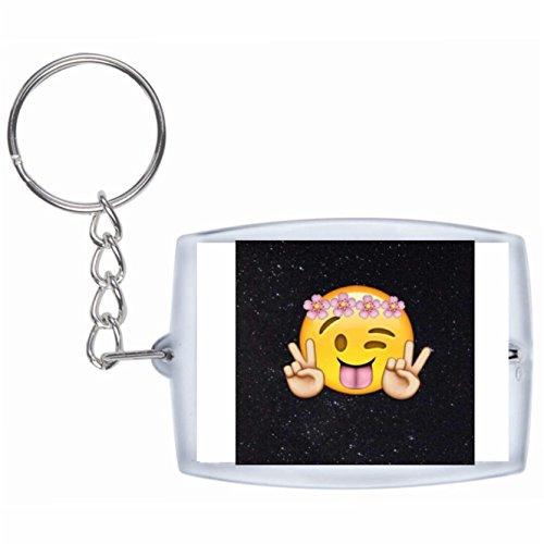 Druckerlebnis24 Schlüsselanhänger Zwinkerndes Glückliches Gesicht im Weltraum NASA Rucksackanhänger, Taschenanhänger, Keyring, Emoji, Smiley, Exklusiv