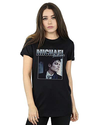 Absolute Cult Michael Jackson Mujer Homage Portrait Camiseta del Novio Fit Negro Small