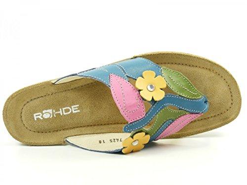 Rohde Emden, Tongs femme Multicolore - Mehrfarbig (54 kobalt)