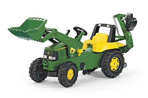 Rolly Toys Trettraktor Rolly Toys Trettraktor rollyJunior John Deere, Kindertraktor mit Frontlader Schaufel, Heckbagger, Front- und Heckkupplung, geeignet für Kinder ab 3 Jahren, grün, 811076