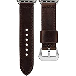 Geckota® Chocolate Brown Italian Handmade Leather Watch Strap for Apple Watch 42mm