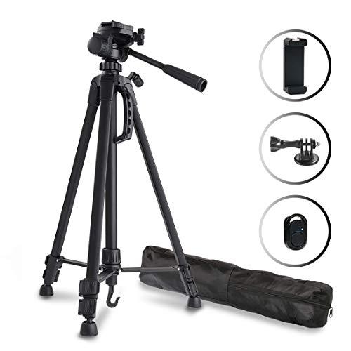El paquete contiene:         1 × Trípode cámara réflex   1 × Adaptador de móvil con zapata cold shoe   1 × Control remoto bluetooth   1 × Adaptador de Gopro   1 × Bolsa de nylon              Especificación:      Nombre: Trípode para cámara y ...