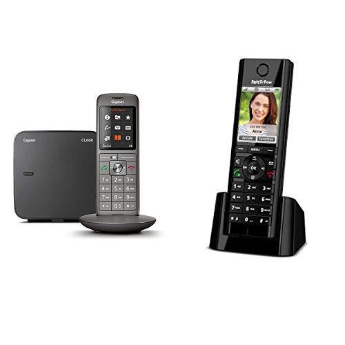 Gigaset CL660 Telefon - Schnurlostelefon / Mobilteil - mit Farbdisplay / Grosse Tasten- Freisprechen anthrazit & AVM FRITZ!Fon C5 DECT-Komforttelefon schwarz, deutschsprachige Version