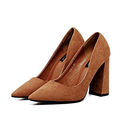 LvYuan-mxx Talons Femmes / Printemps Été / Confort suède / Casual / Bas chunky Talon / pointu pointe / sandales BROWN-37