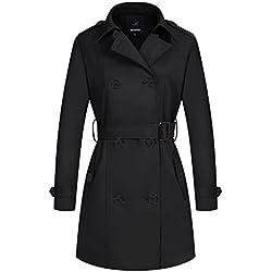 Wantdo Femme Vêtement Double Boutonnage avec Ceinture Coupe-Vent Noir Medium