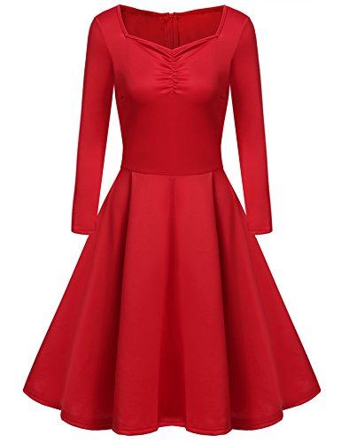 ZEARO Damen Winter Kleider Elegent Langarm Abendkleid Cocktailkleid Vintage  Kleid Knielang Faltenrock Rot