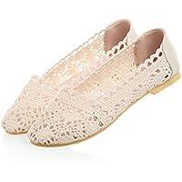 Chica de verano gancho tejer sandalias artesanales de flores grandes, calzado plano ,beige,36