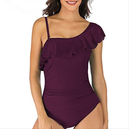 EIN-Schulter-Ruffled Einteilige Badeanzug, Damen Sling Badeanzug Solide Farbe, EIN Stück Badeanzug Frauen Plus Size, Schwimmen Kostüm Strand Baden l purpurn -