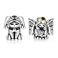 Udalyn 2 Pcs Stainless Steel Heart Guardian Angel Prayer Protect Me Lucky Charm Beads for Bracelets