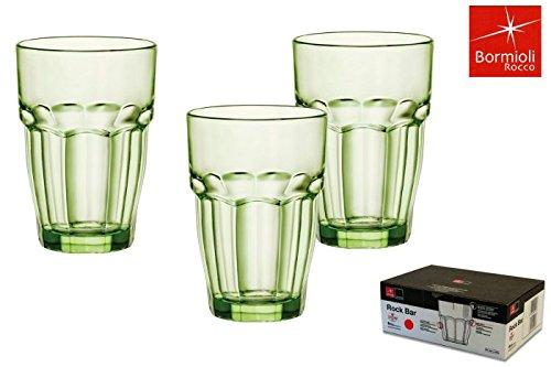 Bormioli Rocco Rock Bar Lounge Mint boisson longue verre 370ml, vert, trempée, 6 verre