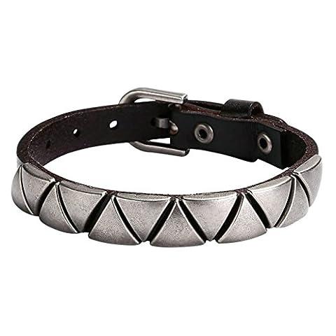 Epinki Mens Stainless Steel and Leather Bracelet Punk Rock Adjustable