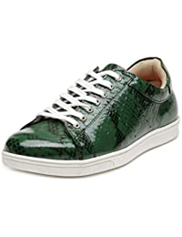 Hats Off Accessories Men Green Leather Sneakers Shoes