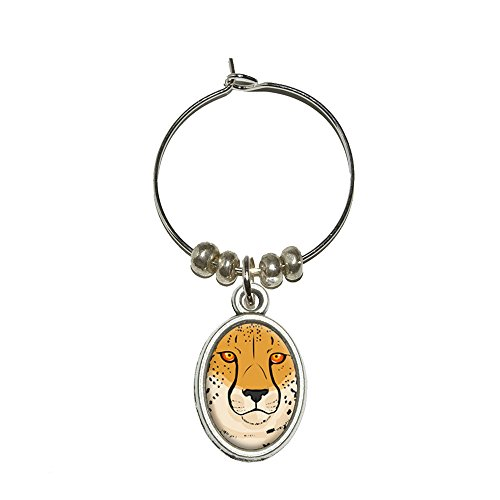 CHEETAH – Safari Big Cat Wein Glas Oval Charm Drink Marker (Charms Glas Wein Cat)