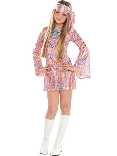 Disco Diva Teen Girls 1970s Costume. Dress and Headscarf. Ages 6 to 16 years.