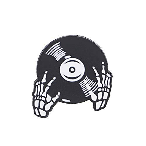 YXZHKDM Broschen Coole Halloween Skelett Hand Musik Vinyl Record Badge Shirt Kragen Brosche
