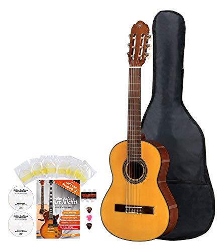VGS Student 1/2 Konzertgitarre Starter Set (Konzertgitarre in 1/2 Größe mit Fichtendecke & Hannabach 815HT Saiten inkl. 5-teiligem Zubehörset für Konzertgitarren) Natur