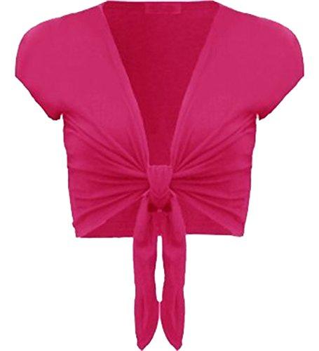 Damen trendy tie up cap sleeves Frauen Bolero Mädchen wickeln oben Strickjacke 36-42 Hot Pink