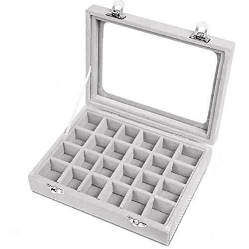 Mayner Ohrringe Box, 24 Fächer Samt Glas Schmuckkästchen, Ohrringe Organizer Aufbewahrungsbox Schmuck Vitrine abschließbar (Grau) (Ein Schmuck Organizer)